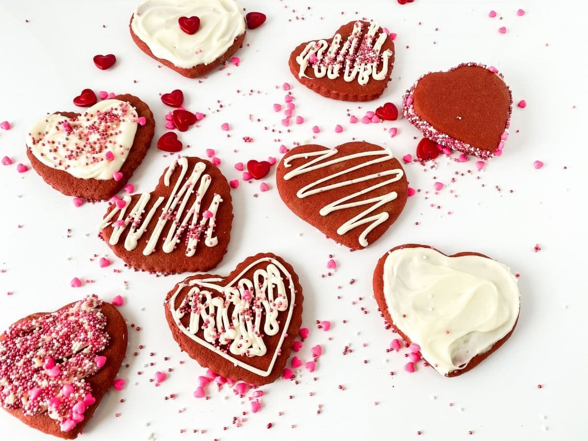 Iced red velvet heart cookies