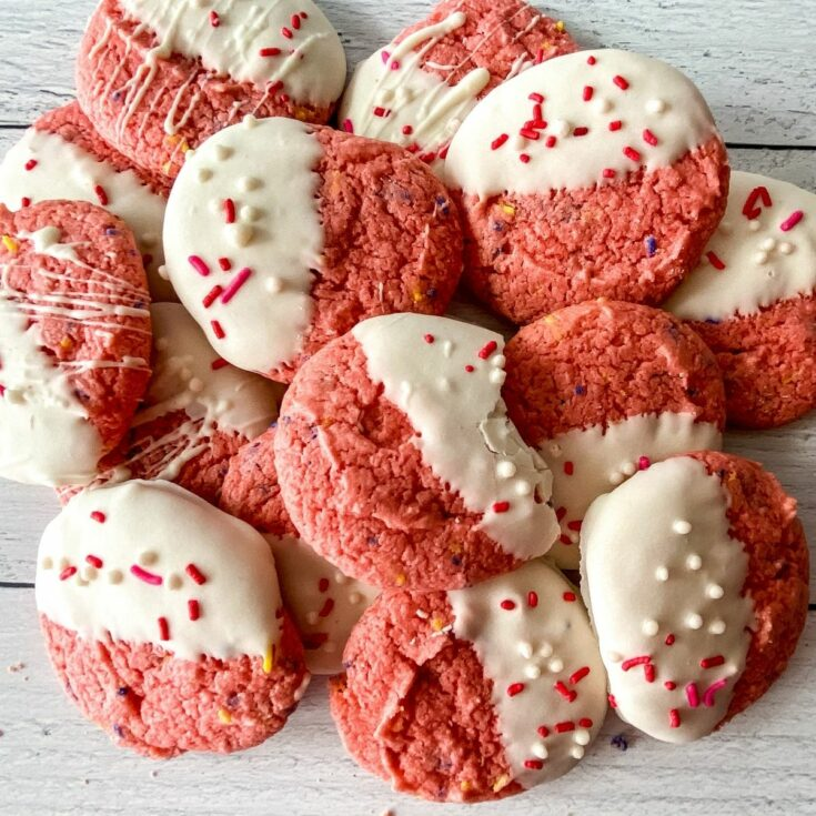 Stack of strawberry cake mix cookies