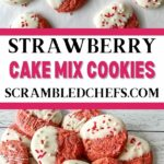 Strawberry cake mix cookies collage