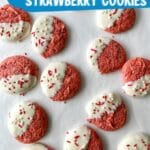 Dipped strawberry cookies on tray