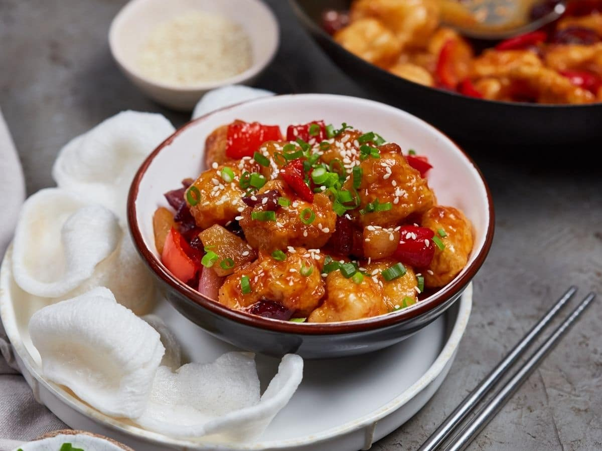 Sweet and sour chicken in bowl