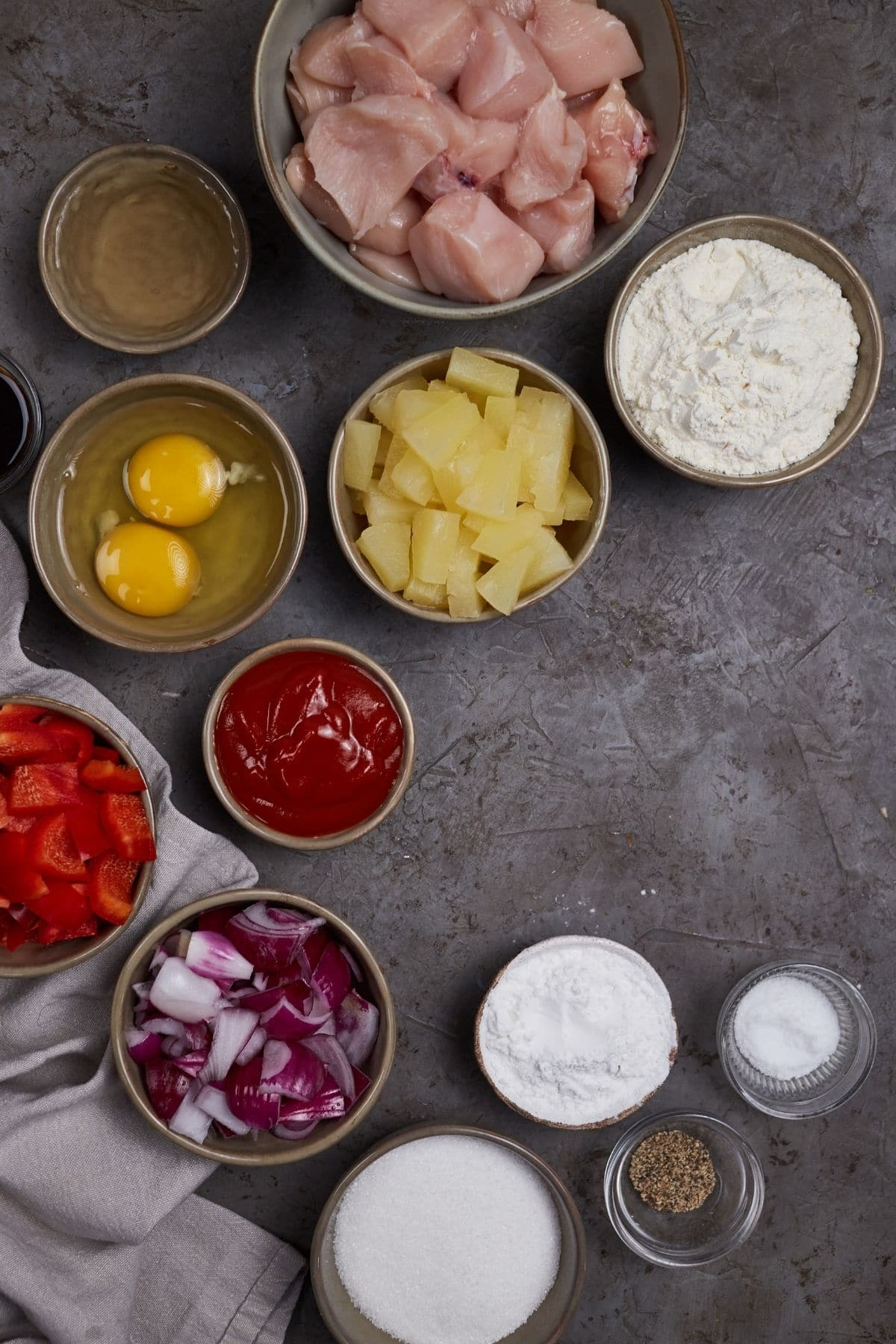Ingredients for sweet and sour chicken
