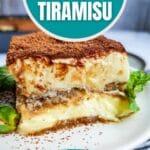 Slice of tiramisu on white plate