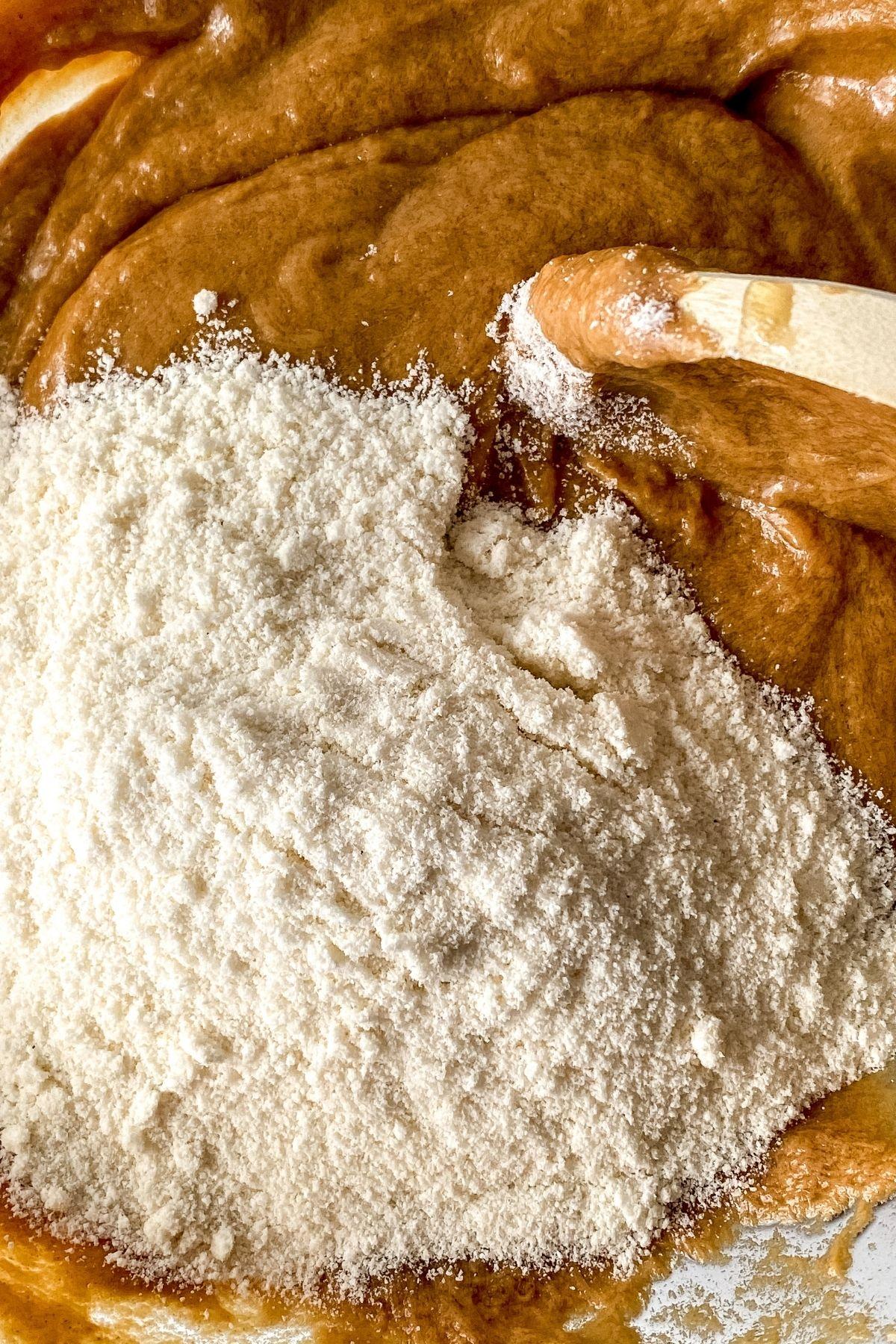 Mixing peanut butter ball filling