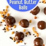Chocolate peanut butter balls on table