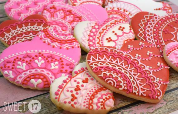 Valentine's Heart Lace Sugar Cookies Set of Six   Etsy