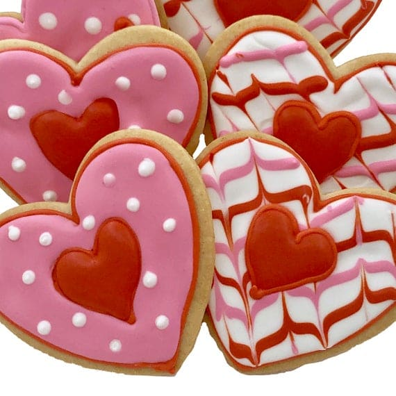 Valentine Heart Cookie Assortment 6 Decorated Shortbread | Etsy