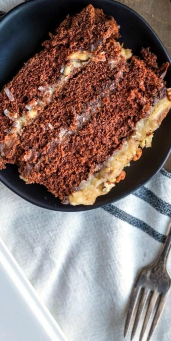 Two Layer German Chocolate Cake | Etsy