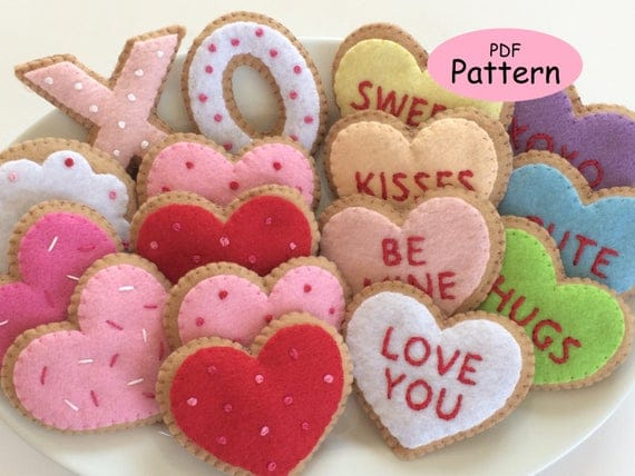 Pattern for Felt Valentine Cookie Ornaments Conversation | Etsy