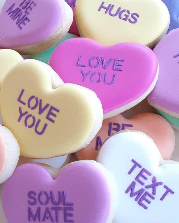 TWO DOZEN Conversation Hearts Valentine's Day Cookies | Etsy