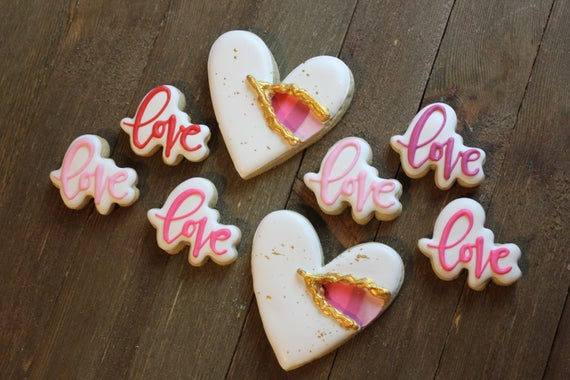 Valentines Hearts and Love Royal Icing Sugar Cookie Gift Set/ | Etsy