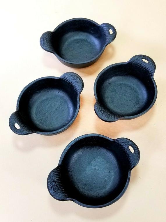 4pc Cast Iron Ramekin Bakeware Bowls desserts souffle dishes | Etsy