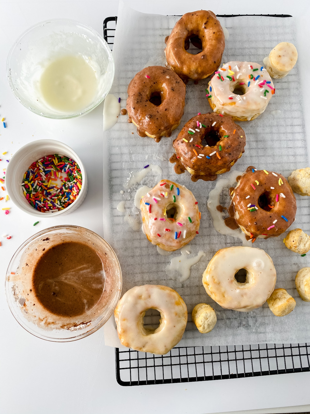Dipping donuts in glaze