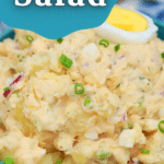 Blue bowl of potato salad