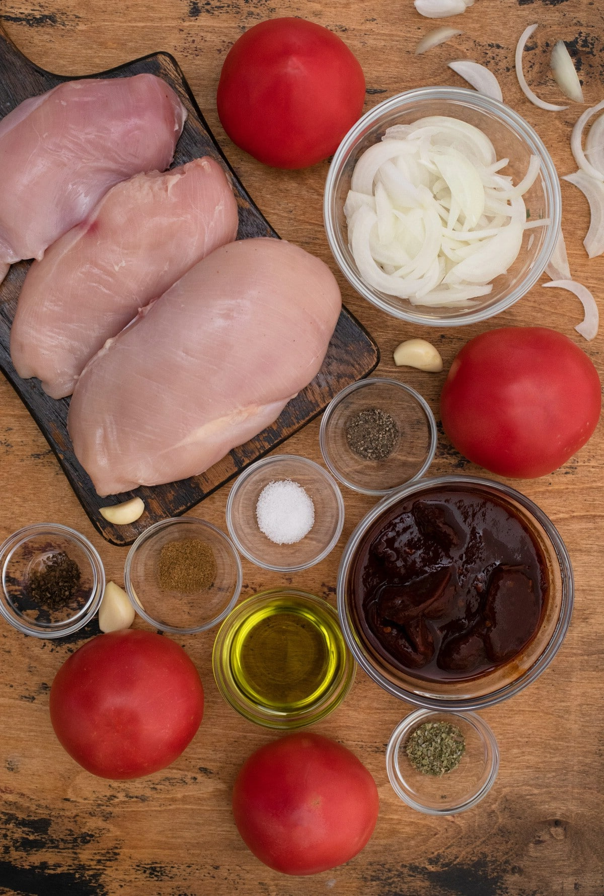 Ingredients for mexican chicken on cutting board