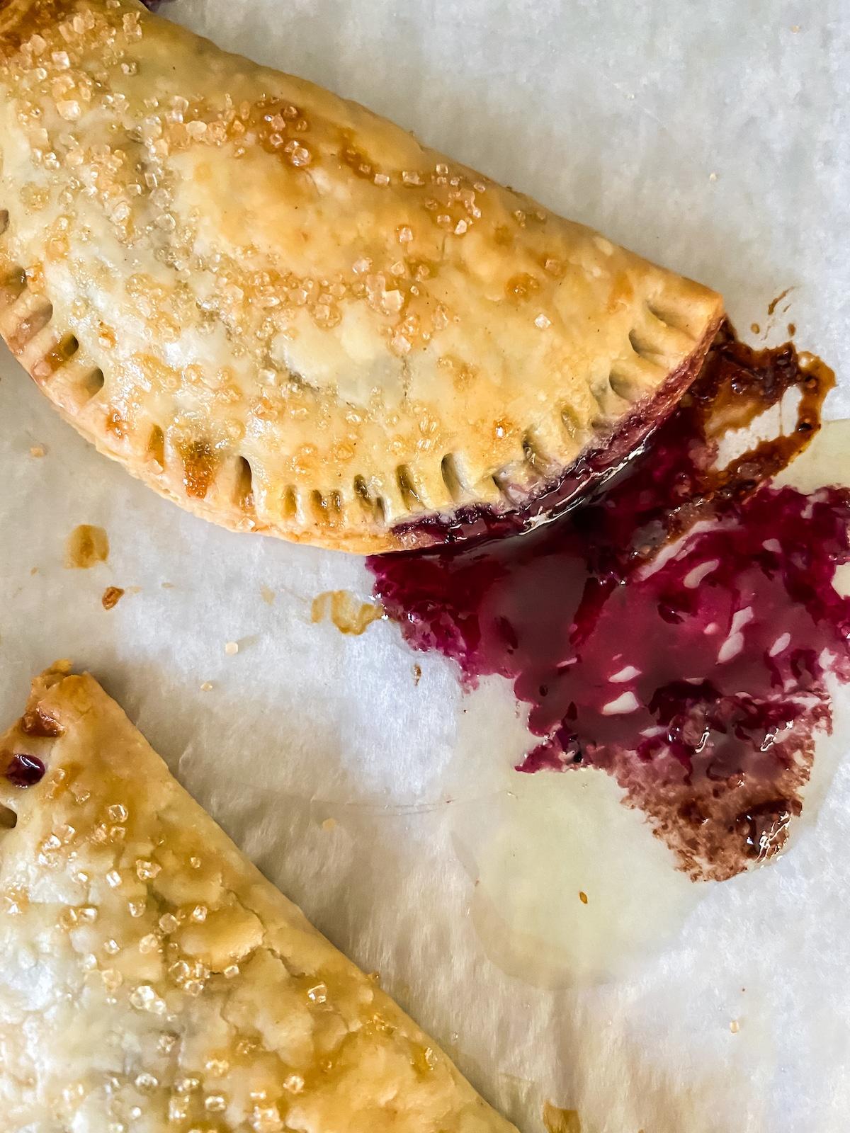 Hand pies on baking sheet