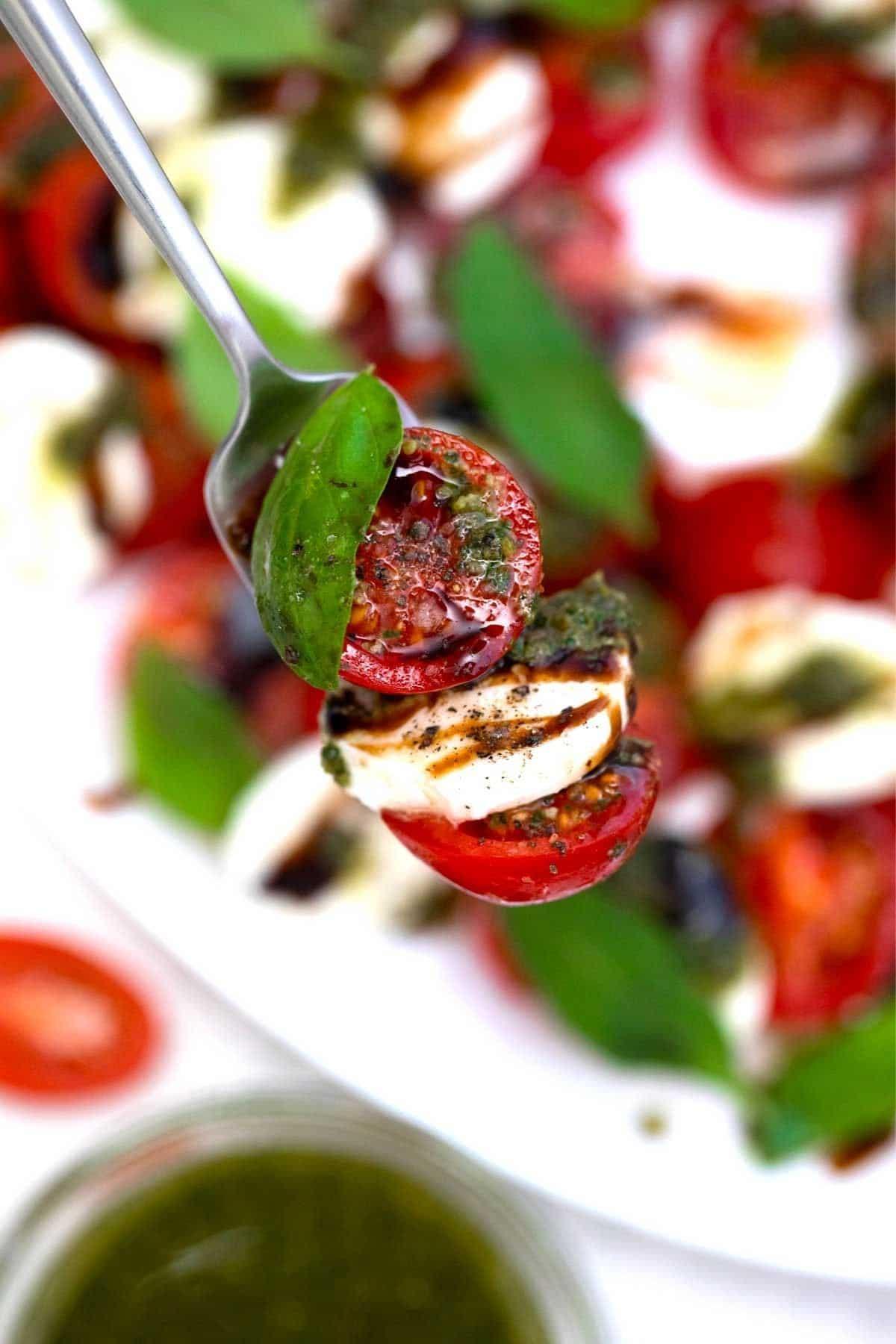 Fork above platter of salad with bite