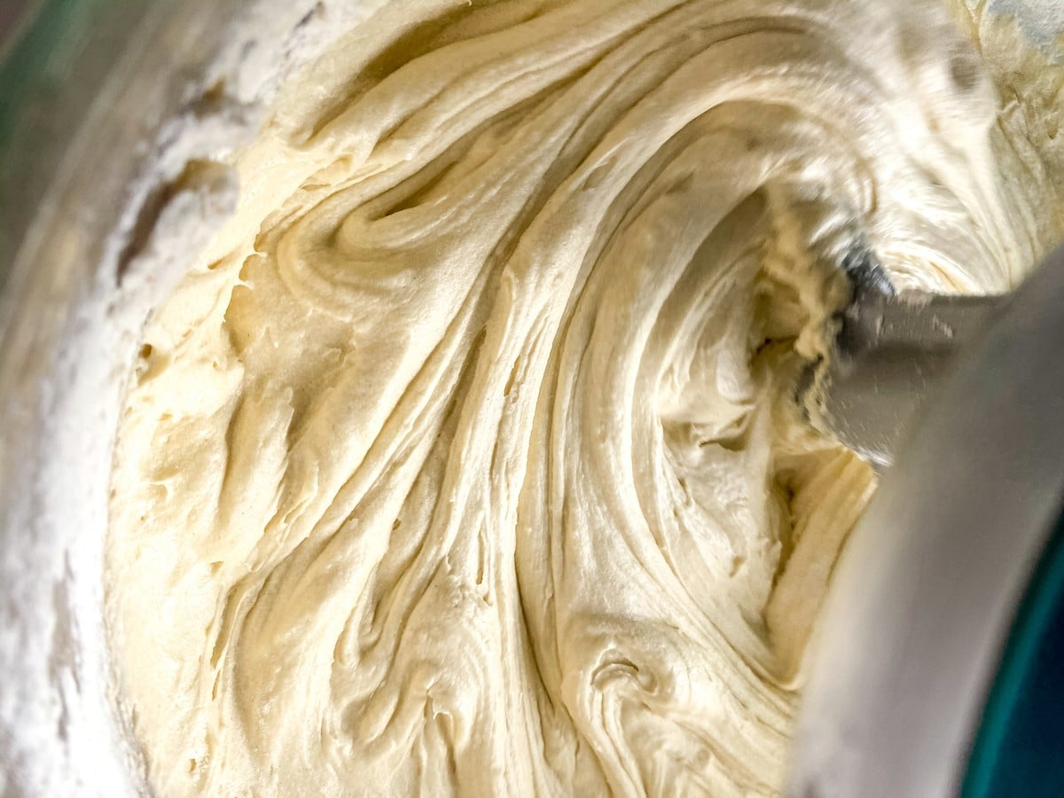 Adding flour to cake batter in stand mixer