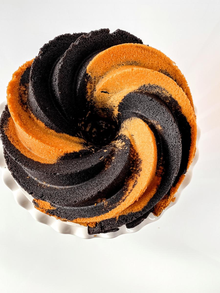 Overhead image of swirl bundt cake on stand