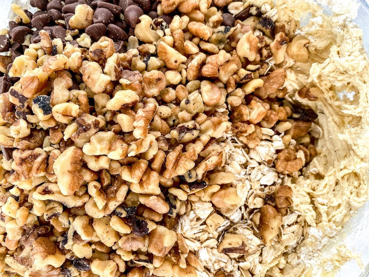 Adding walnuts into cookie dough