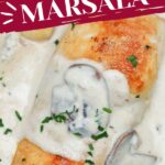 Prepared chicken marsala with cream sauce in skillet