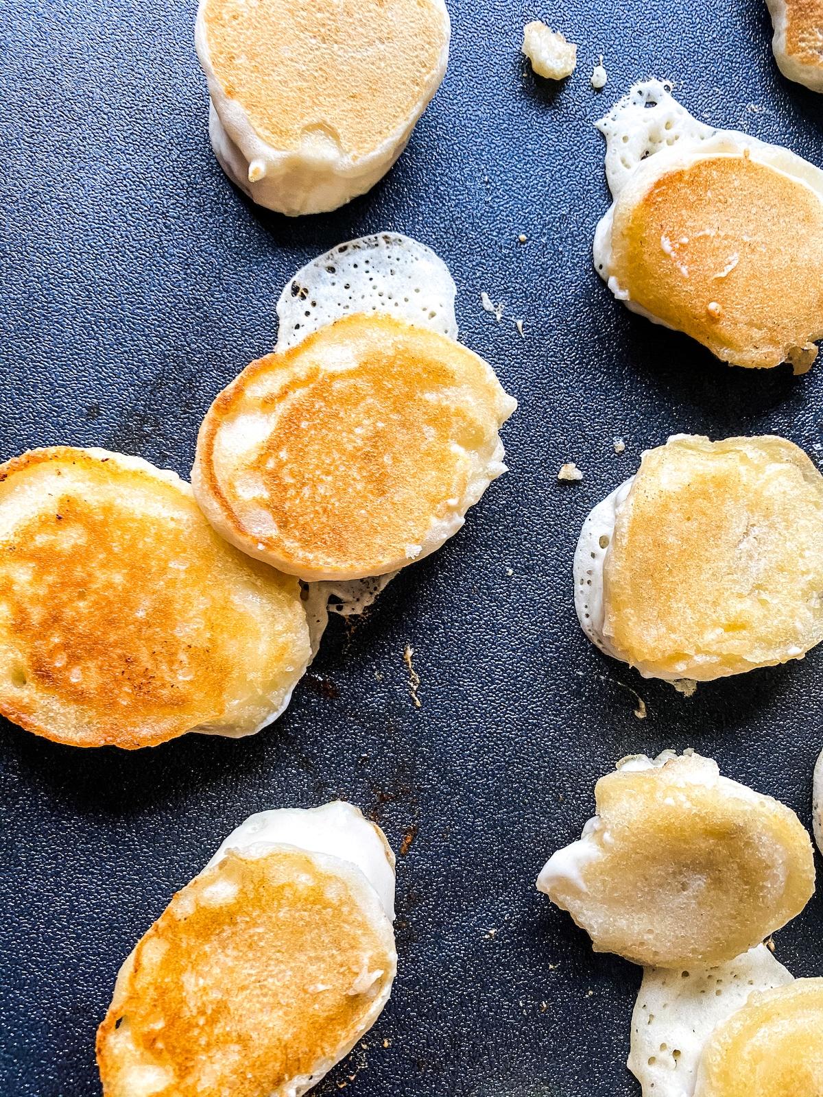 Banana pancake dippers cooking