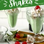 Copycat shamrock shakes topped with cherries