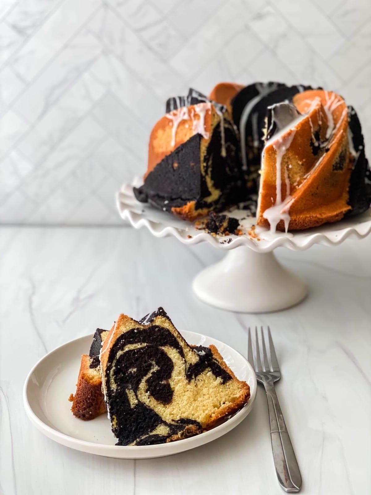 Swirl bundt cake on stand
