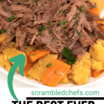 White platter with shredded beef potatoes and carrots