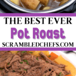 Collage image of vegetables in instant pot and prepared beef
