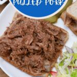 Open faced pulled pork on white plate