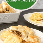 Irish meat pies on white plate