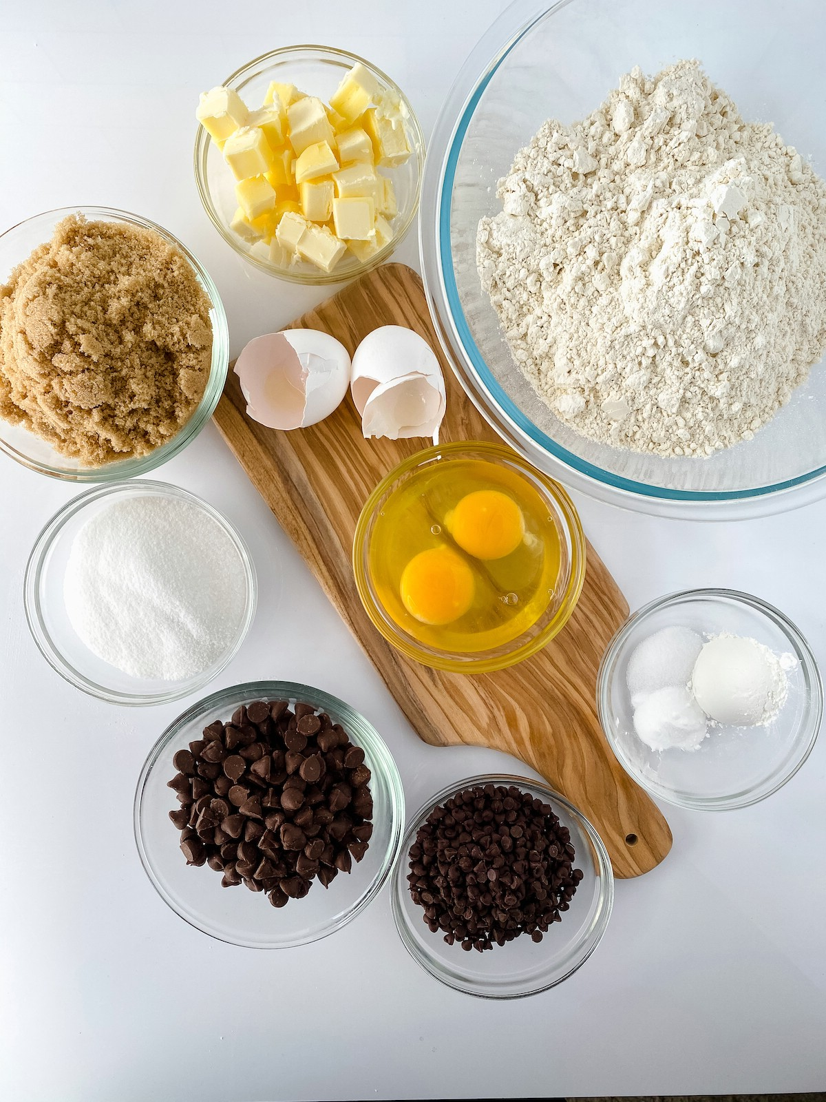 Ingredients for monster chocolate chip cookies