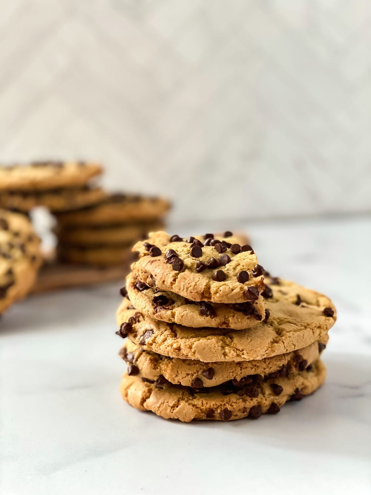 Half eaten cookie on top of stack