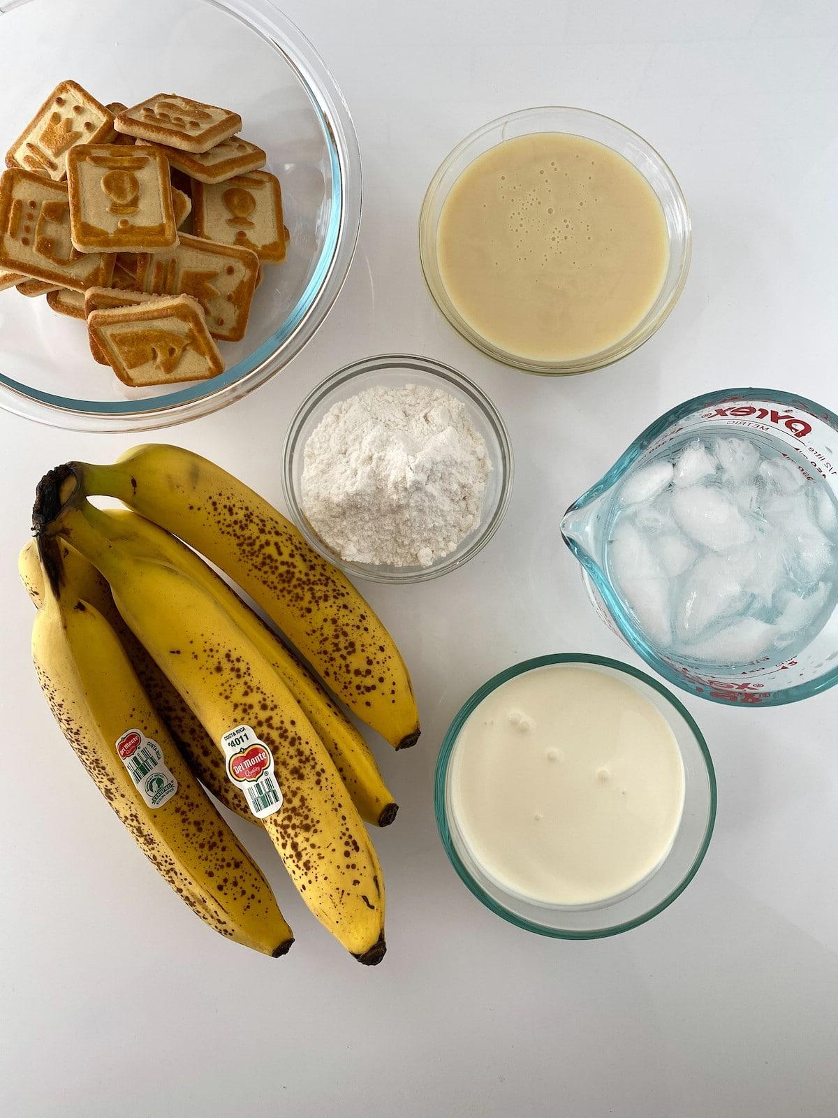 Ingredients for no bake banana pudding