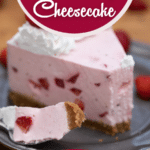 Slice of cheesecake on plate