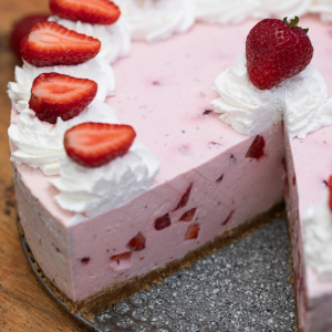 No bake strawberry cheesecake with missing piece