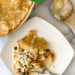 Chicken pot pie on white plate