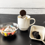 OREO cookie mug cake in white mug