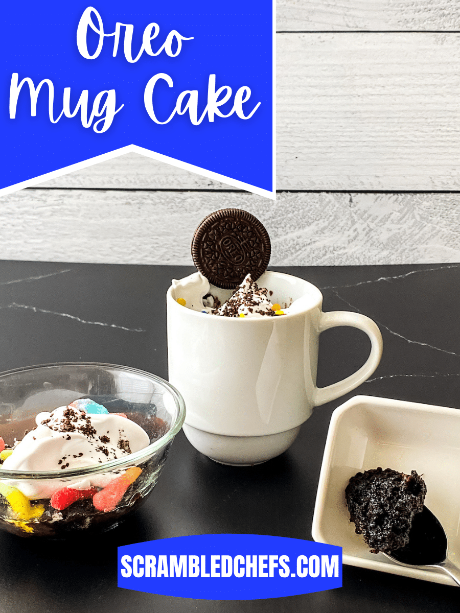 OREO mug cake on black table