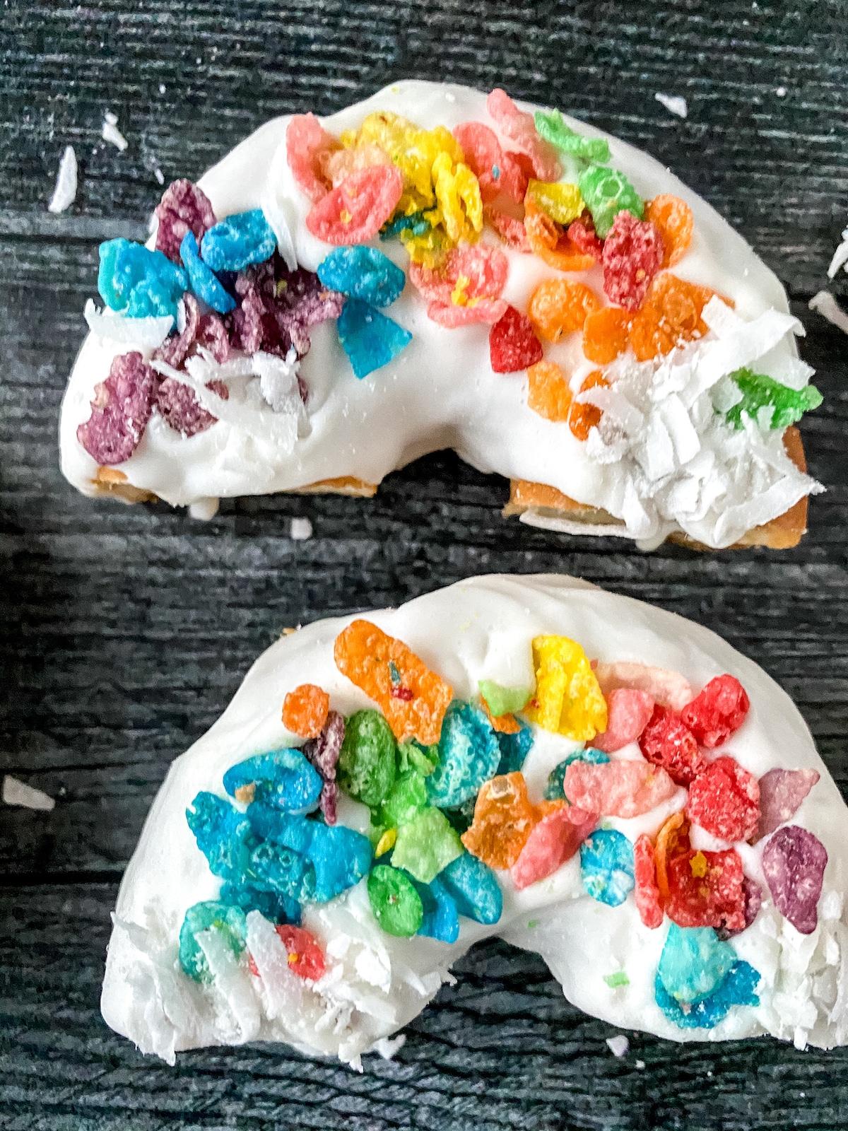 Rainbow donuts on black table