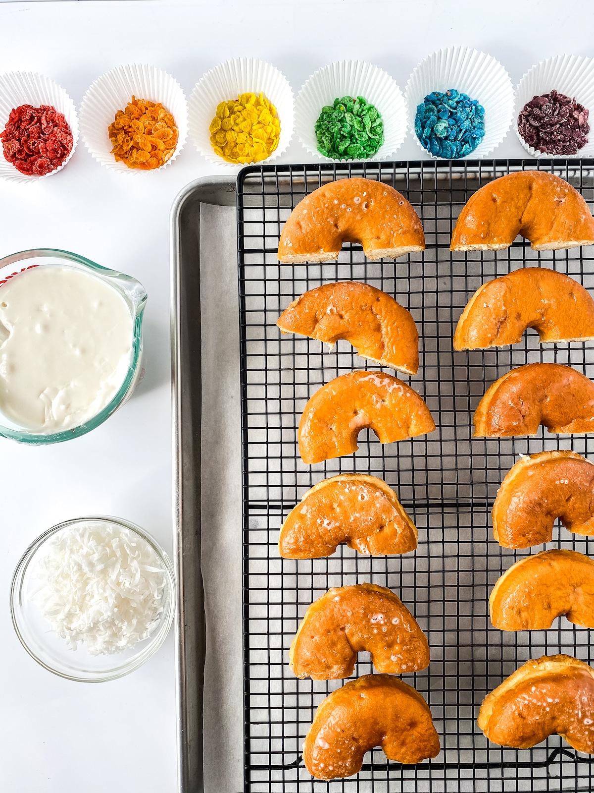 Ingredients for rainbow donuts