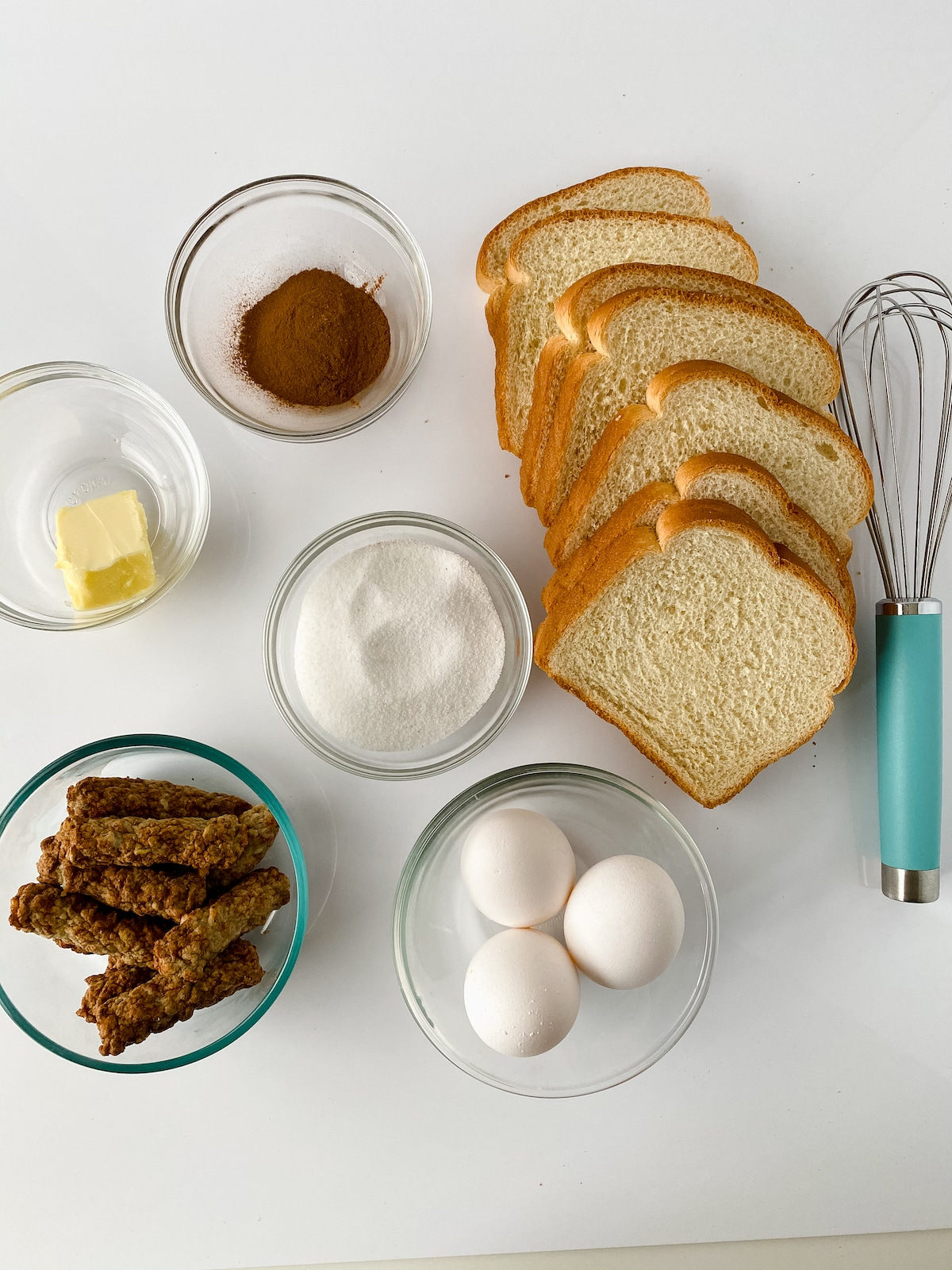 Ingredients for sausage stuffed French toast