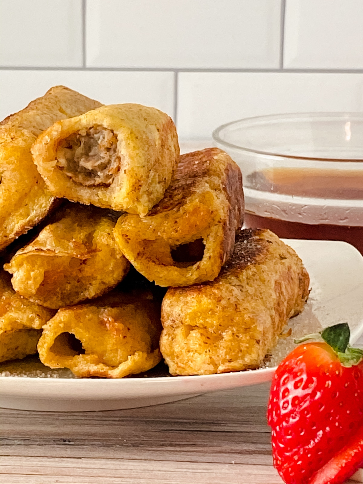 Stack of sausage stuffed French toast