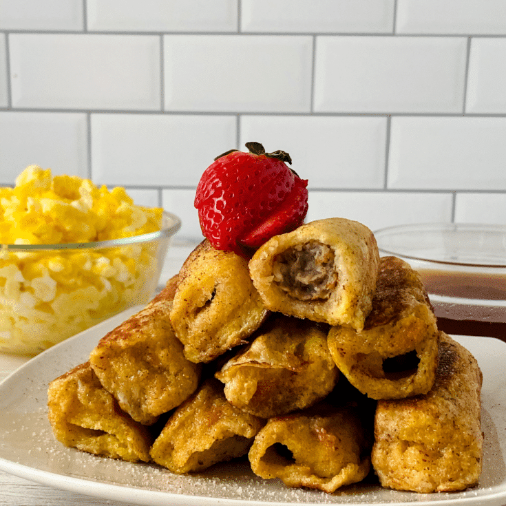 Stack of stuffed french toast rolls