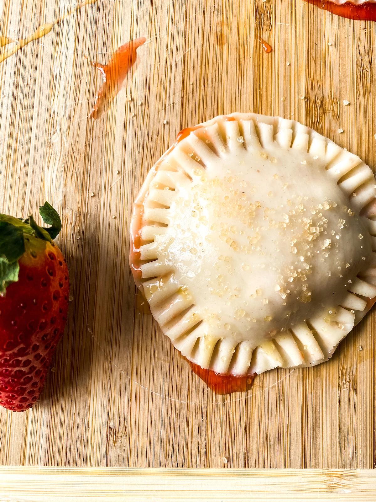Strawberry hand pie before baking