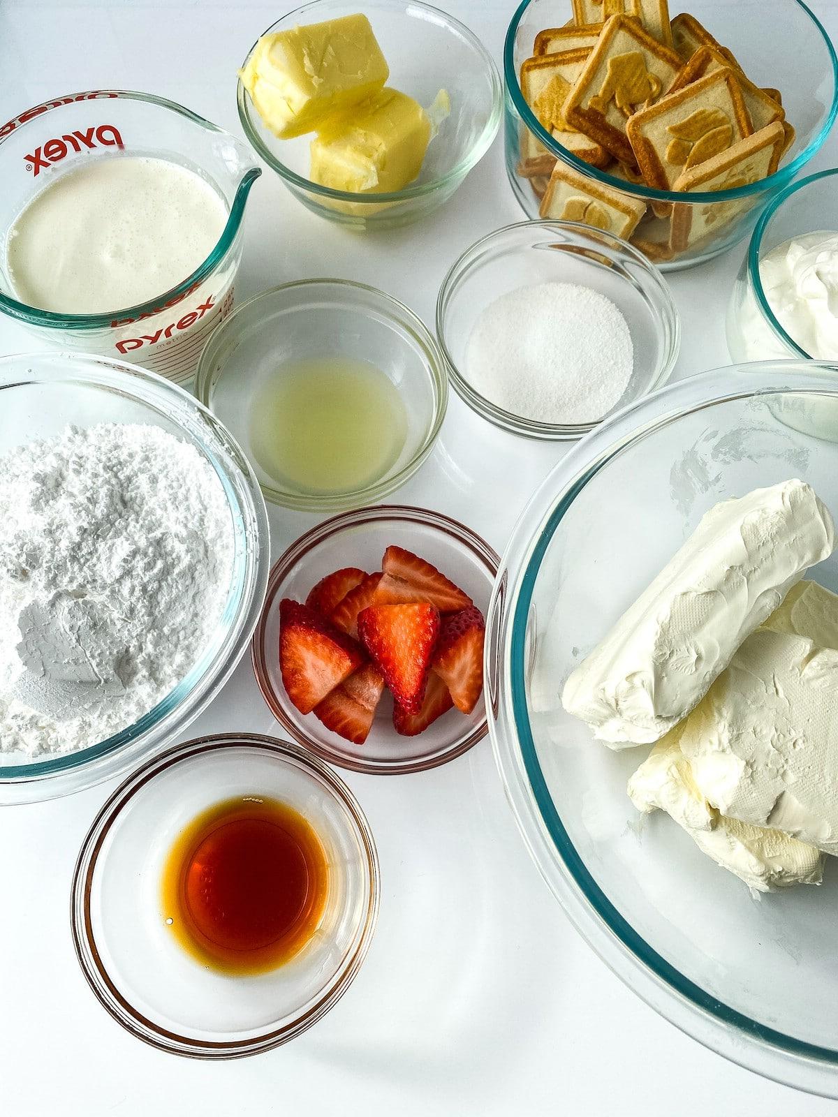 Ingredients for strawberry lemon cheesecake bars