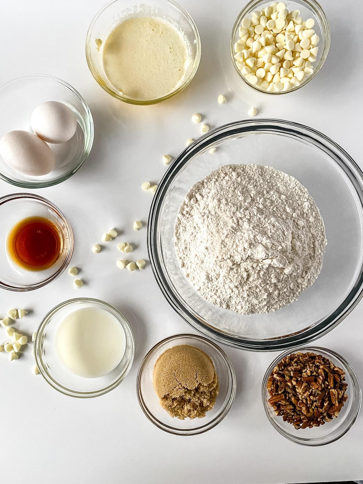 Ingredients for white chocolate blondies