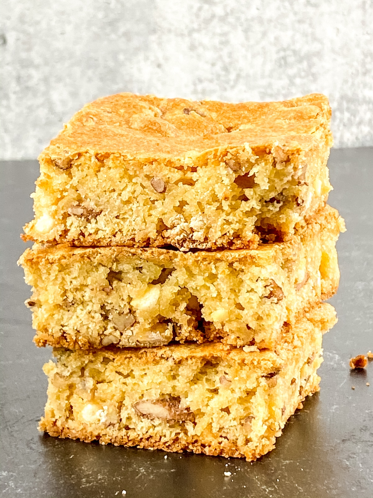 Stack of blondies on counter