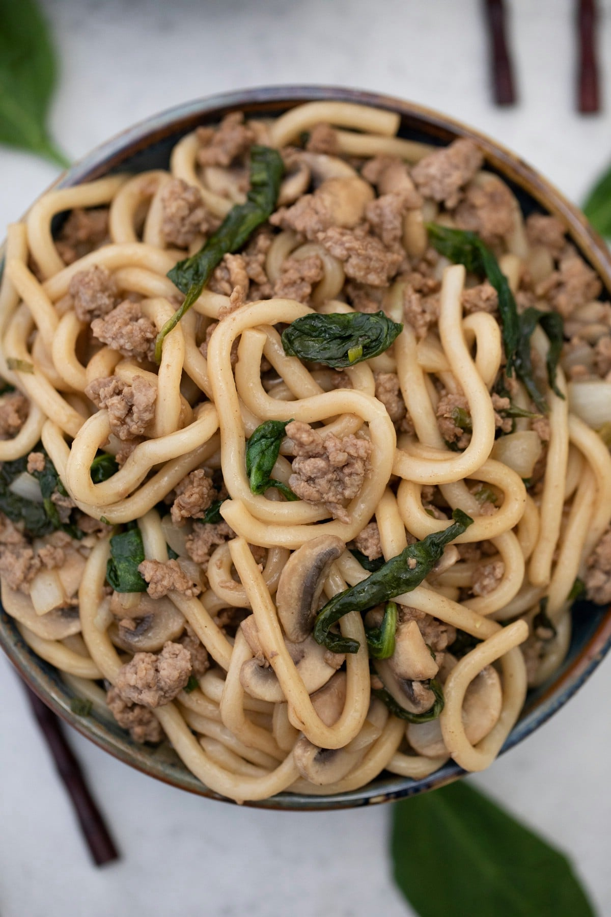 Bowl of udon noodles with ground beef